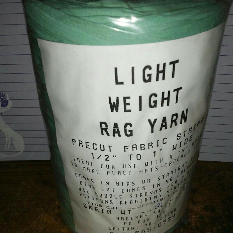 Rag Yarn Precut Fabric Strips Light Weight Straight Cut 21oz Green