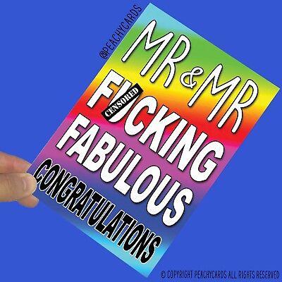 Divertido Boda Tarjeta Matrimonio Gay Mr Y F Cking Fabulous Felicitación PC795