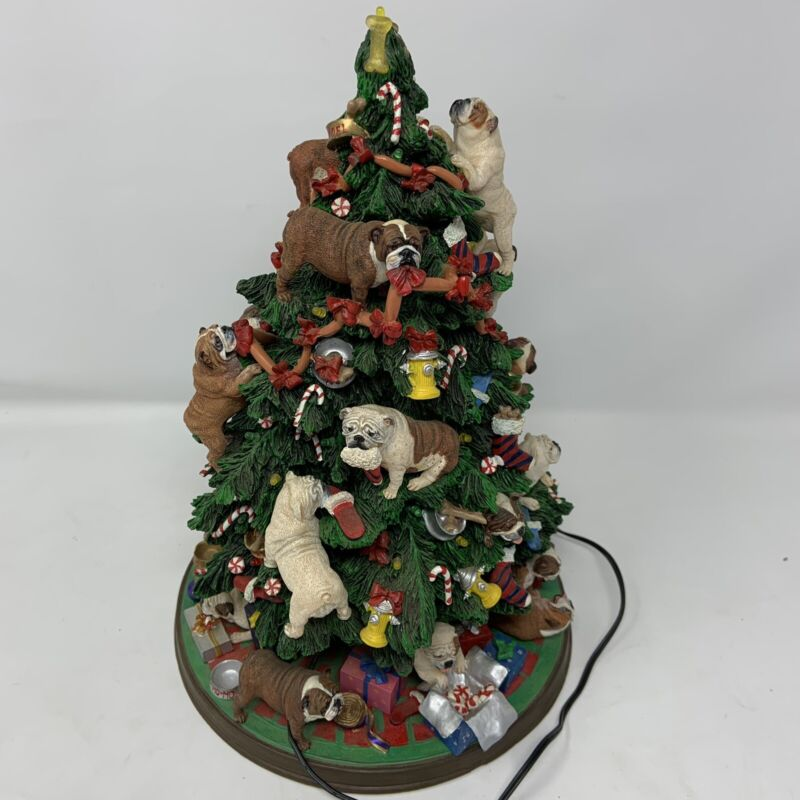 Retired Danbury Mint English Bulldog Lighted Christmas Tree Rare Working