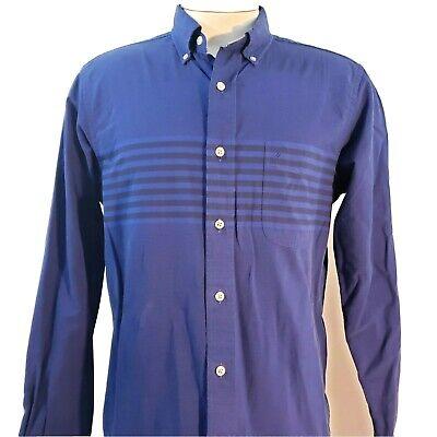 Vintage Nautica Mens Shirt Striped Size Medium Striped Blue Button Down Flip M