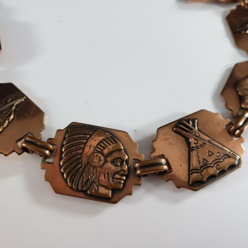 Vintage Book Chain Copper Tribal Punched Ethic Buffalo Tee Pee Chief Bracelet