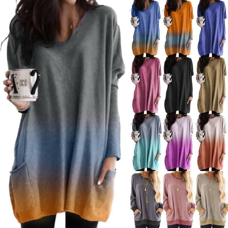Womens Long Sleeve Sweatshirt Gradient Jumpers Pullover Swea