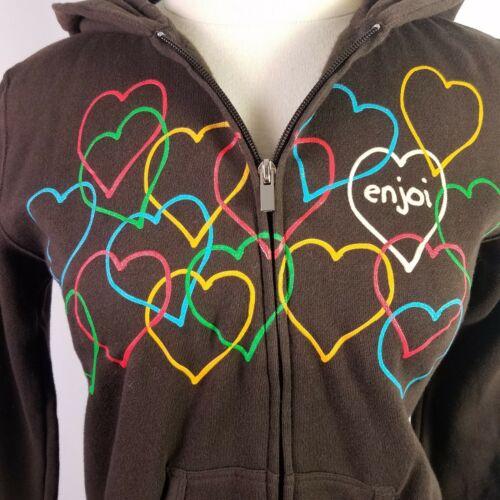 Enjoi Hearts Hoodie Zip Sweatshirt Brown Skate Womens Medium