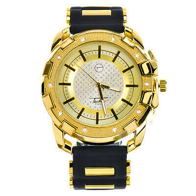 Men's Hip Hop Iced Gold Tone Silicone Band Techno Pave Watch WR 8344 GBK
