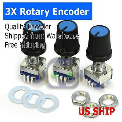 Us Stock 3x Rotary Encoder Switch Ec11 Audio Digital Potentiometer Handle 20mm