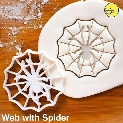 Spider in Cobweb cookie cutter | treats web Halloween party spiderweb biscuit ()