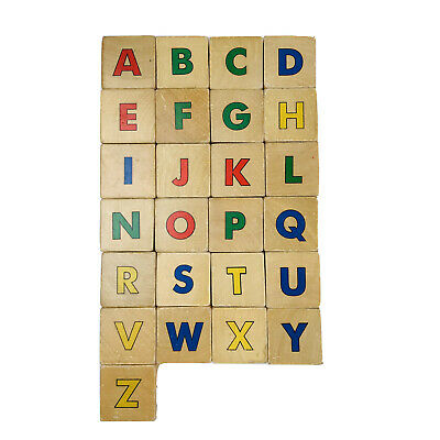 Vintage ABC Wooden Multi-Color Letters Pictures Stacking Toy Blocks Set 25 Piece