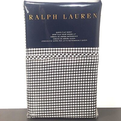 (RALPH LAUREN Home Queen Classic Gingham Black White Onyx Check Sheet (MSRP $145))