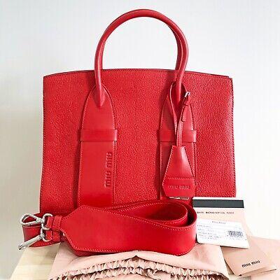$2150 Miu Miu Madras Logo Embossed Classic Leather Tote Satchel Shoulder Bag Red