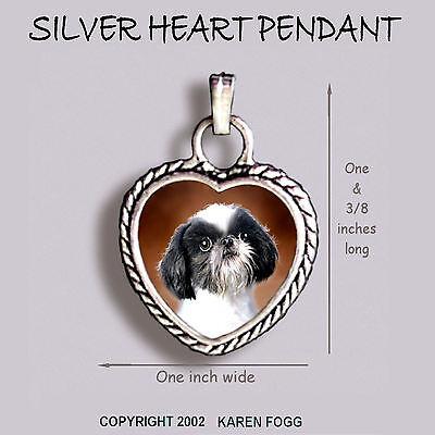 SHIH TZU JAPANESE CHIN DOG Shih-Chin - Ornate HEART PENDANT Tibetan Silver