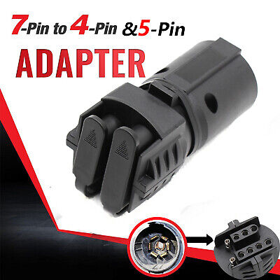 7 Way Round to 4  Way 5 Pin Flat Trailer Light Adapter Plug Connector RV Boat
