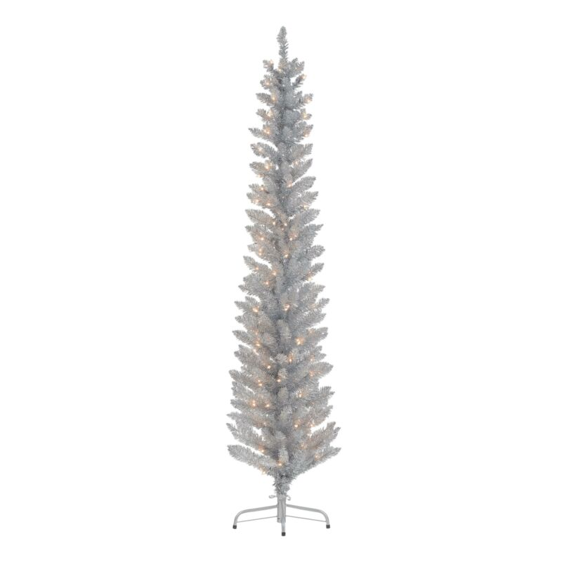 Holiday Time Pre-Lit Silver Tinsel Christmas Tree, 6, Clear