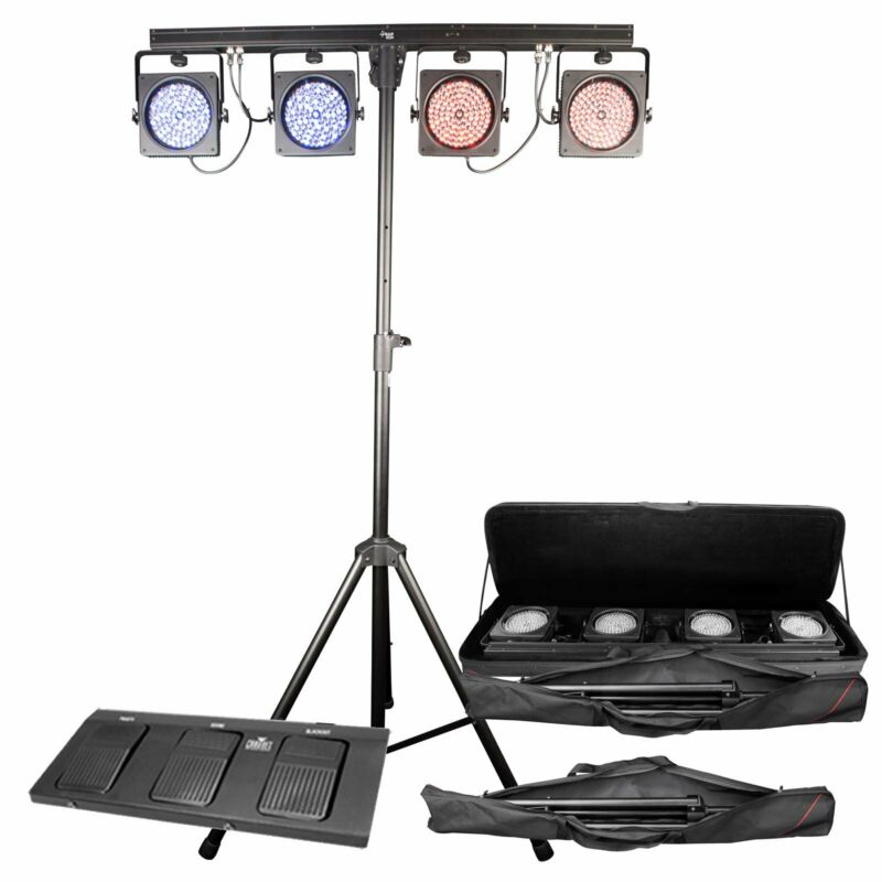 Chauvet DJ 4BAR USB DMX LED Wash Light System w/Tripod, Travel Bags & Footswitch