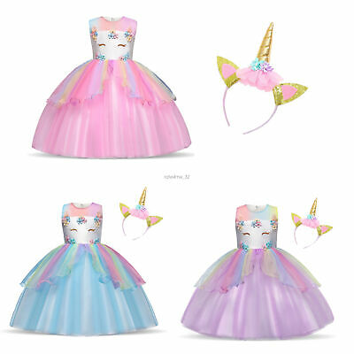 Prinzessin Kostüm Kinder Einhorn Kleid Mädchen Verkleidung Karneval - Kinder Mädchen Kostüm