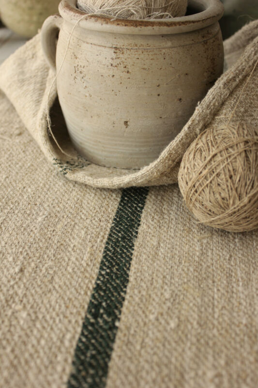 Antique GRAIN SACK RARE DEEP GREEN stripe Feed bag homespun COARSE hemp linen