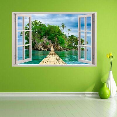 Bamboo Bridge Paradise Tropical Island Wall Art Sticker Mural Decal Poster BD63 Tropical Island Bamboo