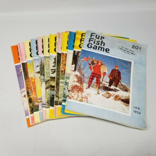 Vintage Fur Fish Game Magazine All 12 Issues of 1954 Articles Advertising Decor