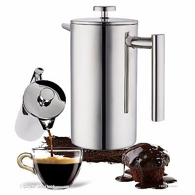 Stainless Bear up French Press Coffee Maker Leaf Tea Kettle Pot 32oz Cup 1L Carafe