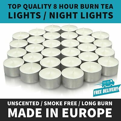 🔥White Unscented 8 Hour Burn Tea Light Candles - Long Burn Time - MADE IN EU