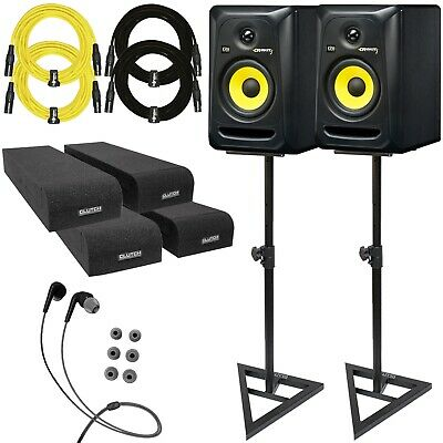"KRK ROKIT 5 G3 RP5G3 5"" Active Bi-Amped Studio Monitor Speakers Pair w Stands"