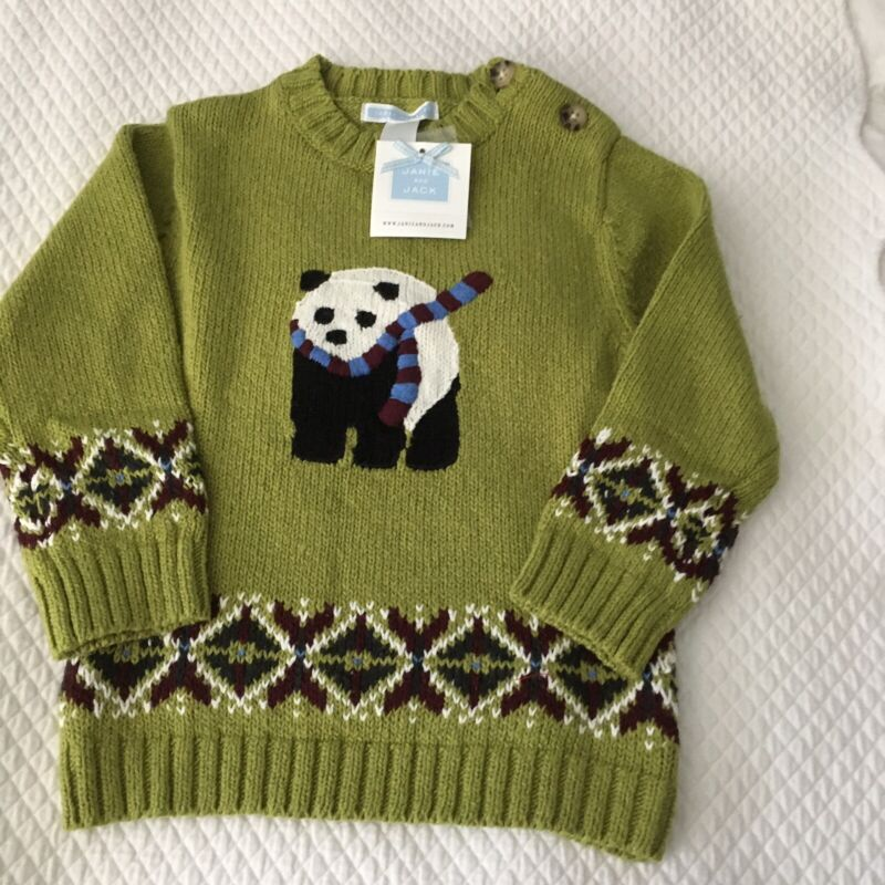 NWT JANIE AND JACK BOYS SWEATER SIZE 2T GREEN WITH PANDA BEAR DESIGN
