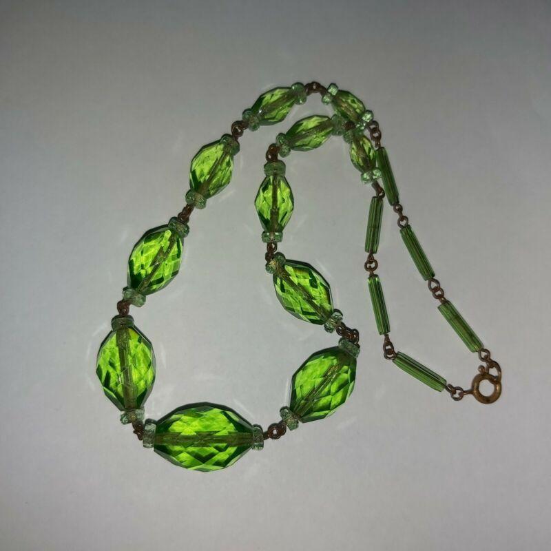 Antique Czech Bohemian Uranium Faceted Vaseline Glass Graduated Bead Necklace