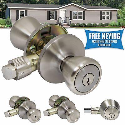 Pro-Grade Mobile Home Door Knobs Handles Hardware Classic Lockset, Satin Nickel