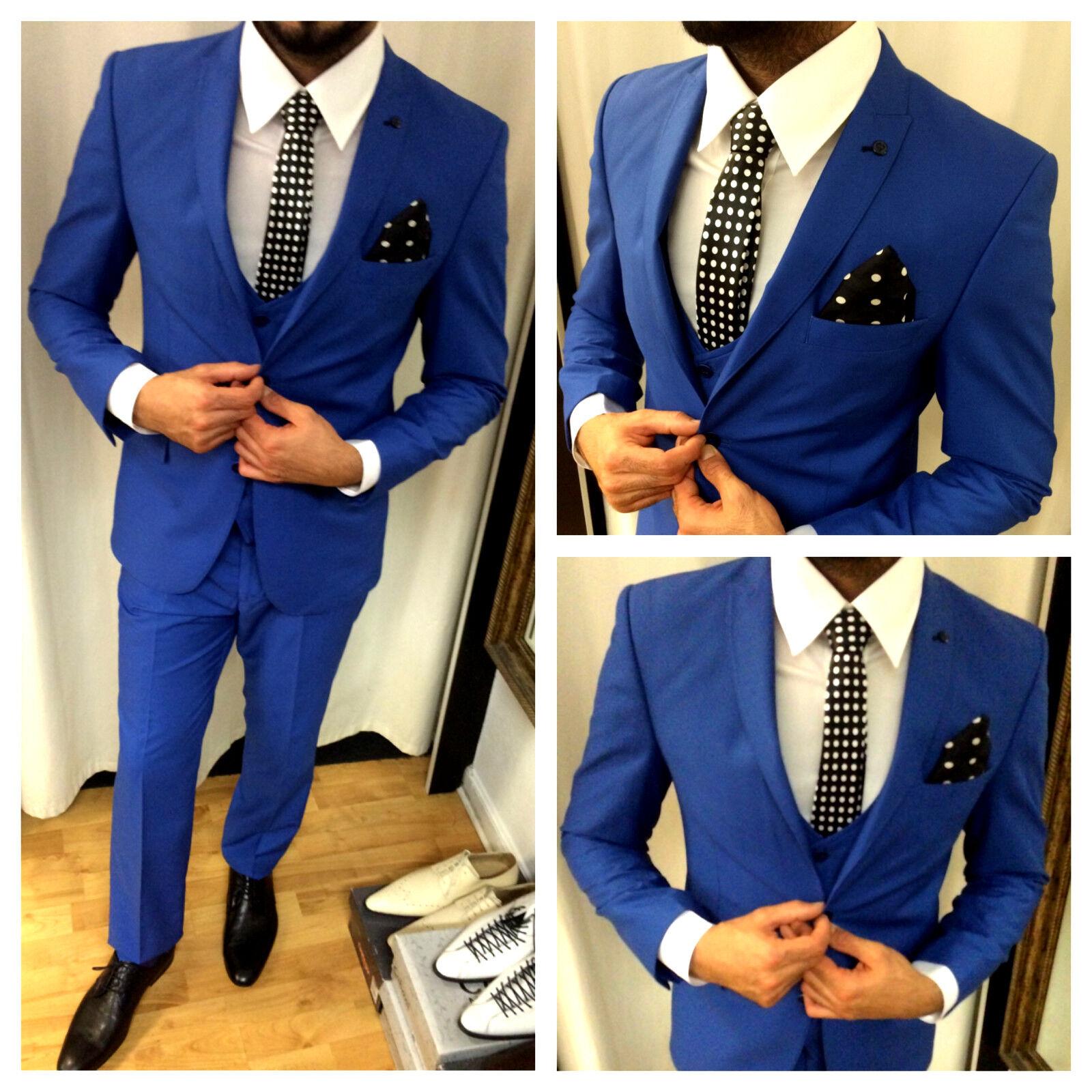 suitmen edler designer blau anzug weste tailliert set passendem hemd krawatte 54 eur 299 90. Black Bedroom Furniture Sets. Home Design Ideas