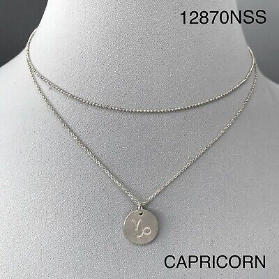 Silver Finish Dainty Double Layer Capricorn Zodiac Round Disc Pendant Necklace Disc Pendant Necklace
