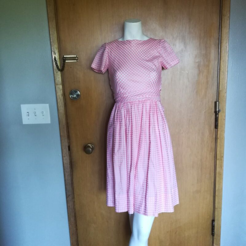 Vintage 1960s Handmade Pink White Checkered Frock Dress Size Extra Small XS