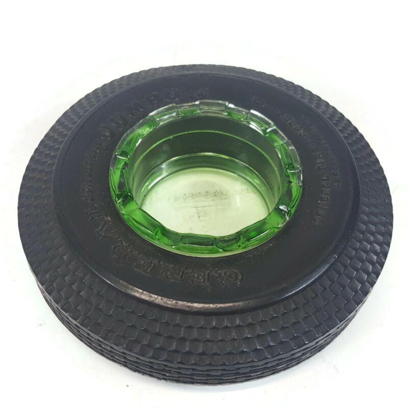 General Tire and Rubber Company Jumbo Streamlined Ashtray Ash Tray Green Glass