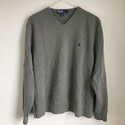 Vintage Ralph Lauren Polo V Neck Sweatshirt Sweater Mens Large GUC Blue Logo