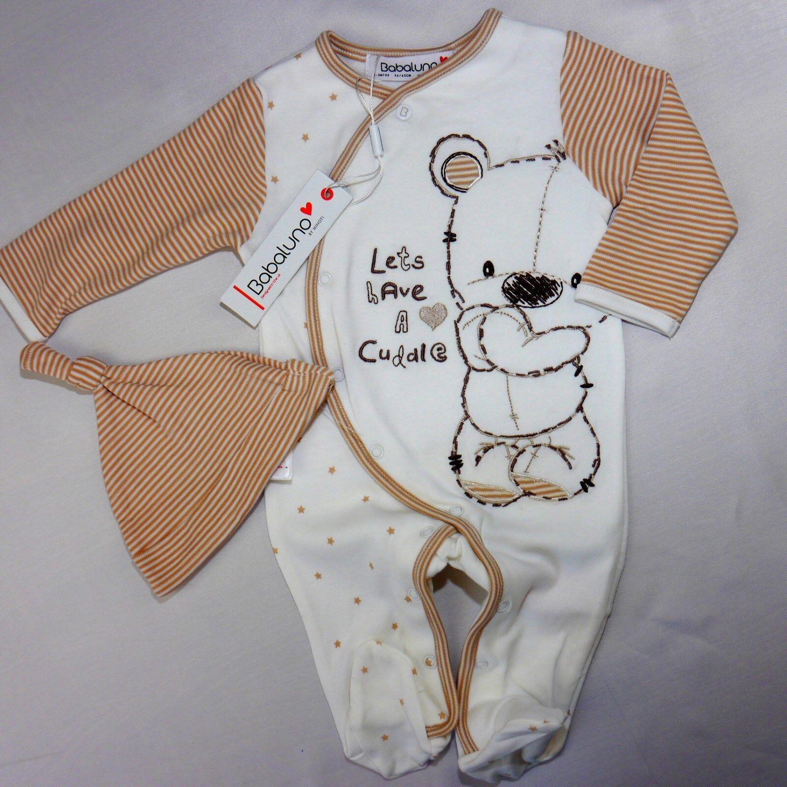 süßer Unisex Baby Strampler mit Mütze  (Teddy )  Gr.56,62,68