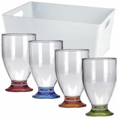 4 x Acryl Trinkglas Camping Weinglas Gläser Sekt Glas Party Kunststoff Set bunt