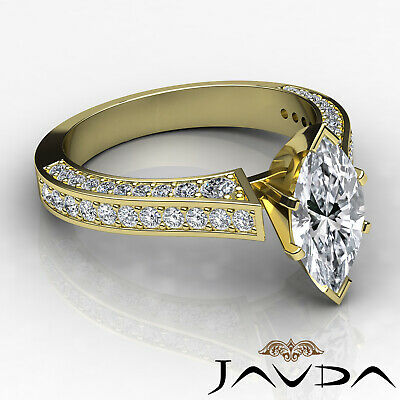 Micro Pave Set Marquise Diamond Engagement Ring GIA Certified I Color SI1 2 Ct 8