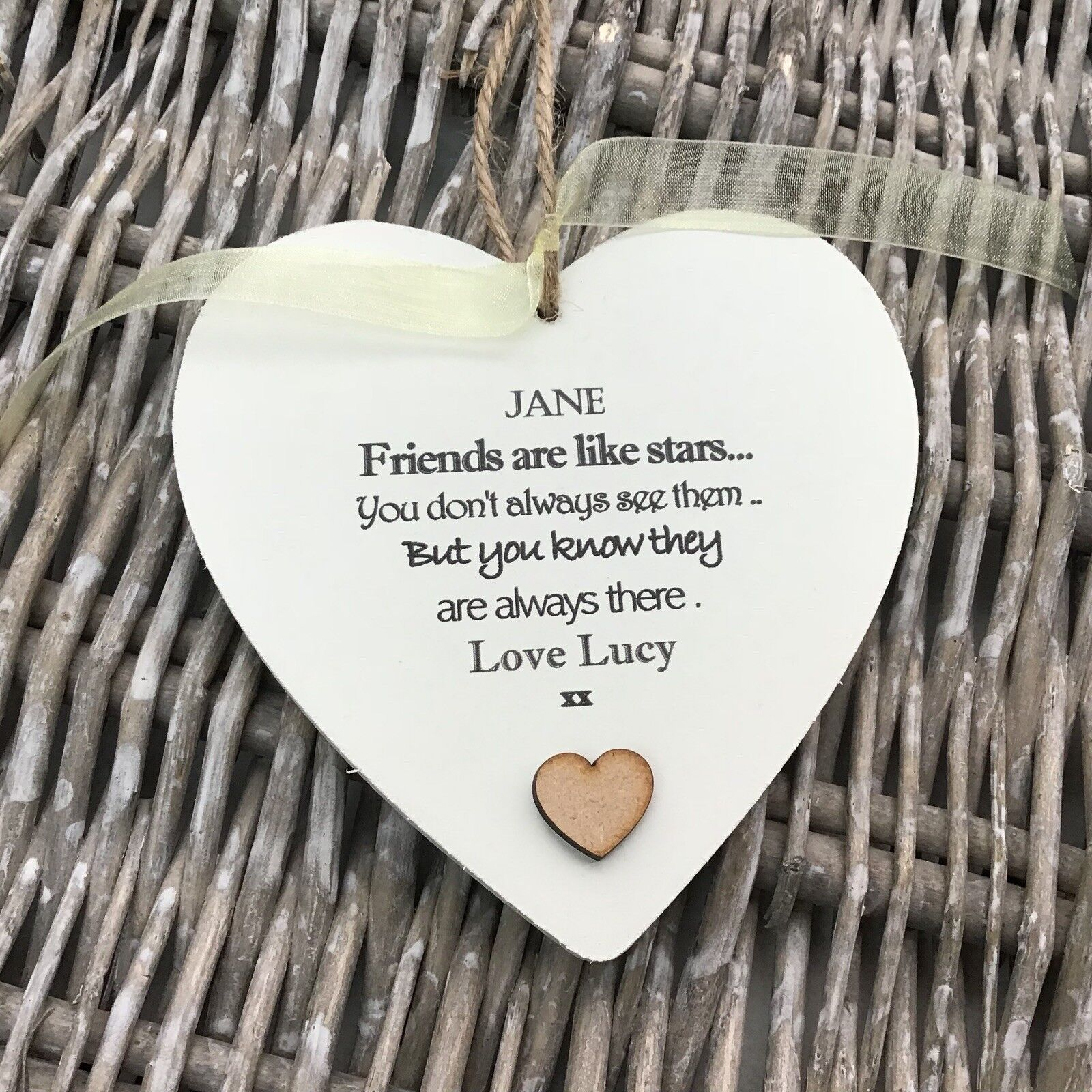 Shabby personalised Gift Chic Heart Plaque Special BEST FRIEND ANY NAMES Gift - 253984884215