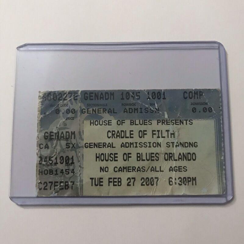 Cradle Of Filth House Of Blues Orlando Florida Concert Ticket Stub February 2007