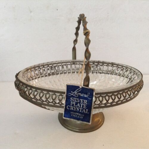 Vintage Silver Plated Crystal Handled Basket England by Leonard Silver Mfg.