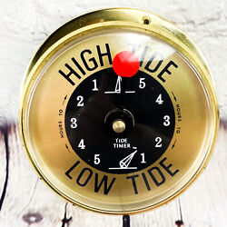 Schelling The Tide Timer Nautical Clock High Low Tide Brass Case Wall Preowned
