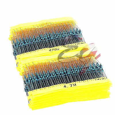 130 Values 2600pcs 1ohm-10m Ohm W Metal Film Resistor Resistors Assortment Kit