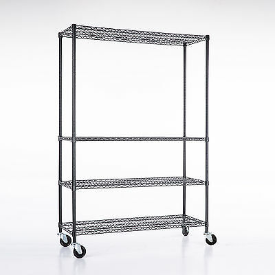 "82""x48""x18"" Heavy Duty 4 Tier Shelving Rack Steel Wire Metal Shelf Adjustable"