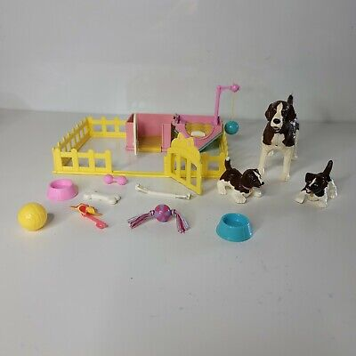Mattel 2002 Barbie Playtime Pet Dogs Family With House and Play Accessories