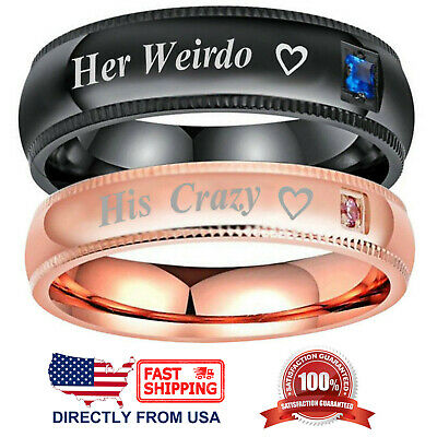 Couple's Matching Ring His Crazy or Her Weirdo Men's and Women's Wedding
