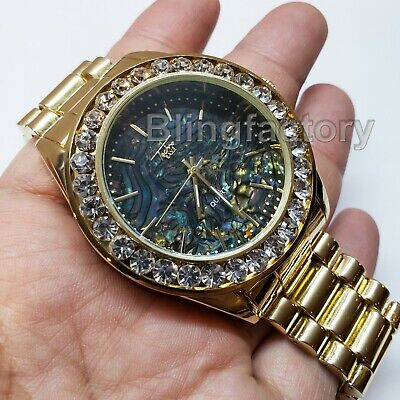 Luxury Hip Hop Iced Lab Diamond Mother of Pearl Black Metal Wrist Bling (Mother Of Pearl Wrist Watch)