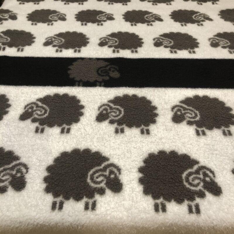 """Vintage Biederlack Blanket Sheep One Black Made in W. Germany Reversible 52""""x74"""""""