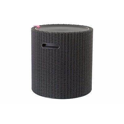 Keter Cool Stool Rattan Style Outdoor Garden Coffee Table Seat Ice Bucket Cooler