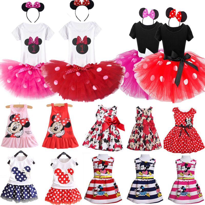 Toddler Kids Girls Minnie Mouse Polka Dot Birthday Party Tut