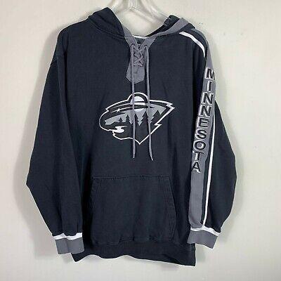 NHL Old Time Hockey Hoodie Size M Black Gray (Minnesota Wild Hoodie)