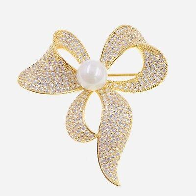 PEARL BOW BROOCH PIN use Swarovski Crystal Gemstone Wedding Bridal GOLD Elegant