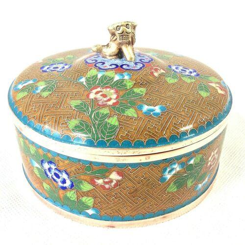 "CHINESE CLOISONNE LIDDED JAR BOX FOO FU DOG LION FINIAL 5.25""D SIGNED CHINA"